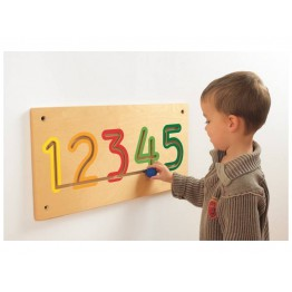 Wooden number tracing wall panel