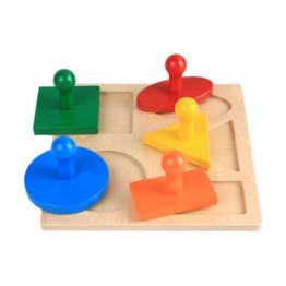 Geometric puzzle board with big knob