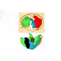 Two-layered wooden puzzle - birds 13pcs