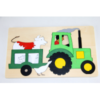 Two-layered wooden puzzle tractor 40pcs