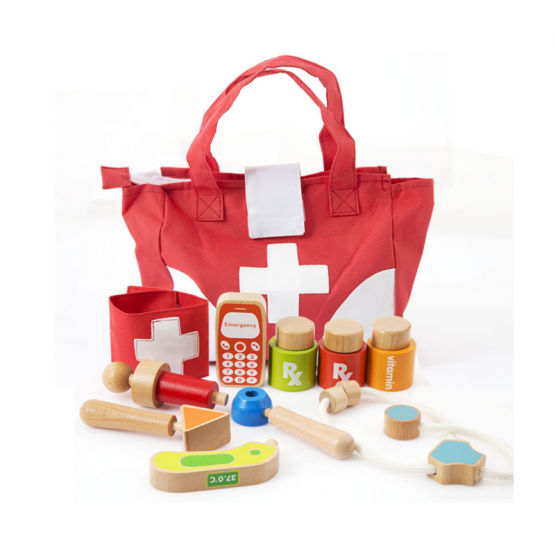 Wooden medical kit