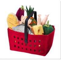 Fabric red grocery basket
