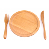 Wooden plate and cutlery set