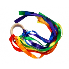 Rainbow ribbons hand kite with silver bells