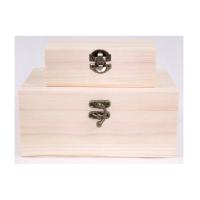 Wooden treasure box set of 2