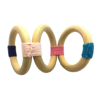 Hand woven wooden rings set of 4