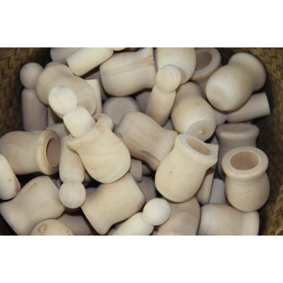 Wooden peg dolls in unfinished wood cups set of 10 peg dolls and 10 wooden cups