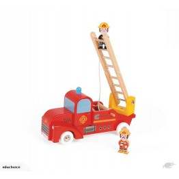 Wooden fire truck with rotating fold-out ladder two firefighters