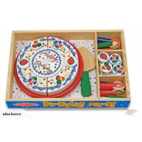 Wooden birthday cake in with wooden tray