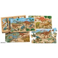 Wooden 4 in 1 puzzle - Prehistoric dinosaurs