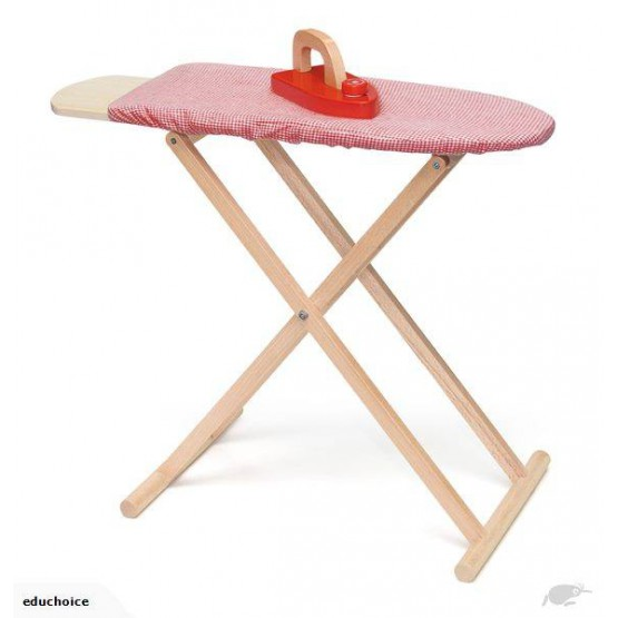 Wooden ironing board with 1 wooden iron