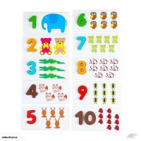 Wooden 3D number animal puzzle