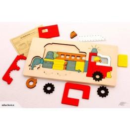 Fire truck multi-layer puzzle