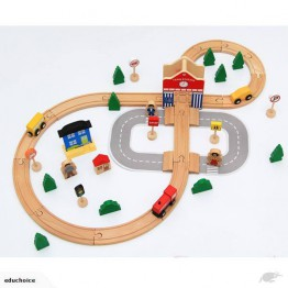 50pcs wooden train track set