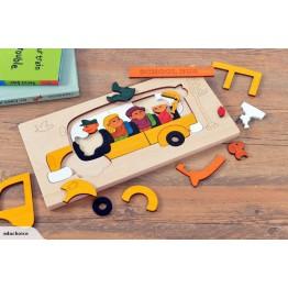 Multi-layer constructive puzzles school bus H031004