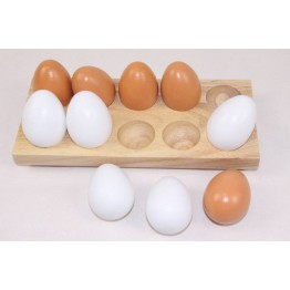 Educhoice wooden egg tray with 10 wooden eggs