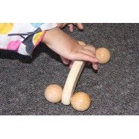 Wooden handles with wheels set of 2