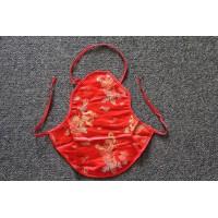 Children's red Chinese silk apron vest DuDou